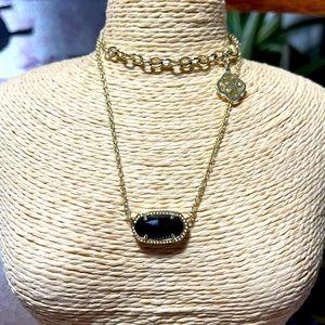 Kendra Scott Elisa necklace black gold euc s bag